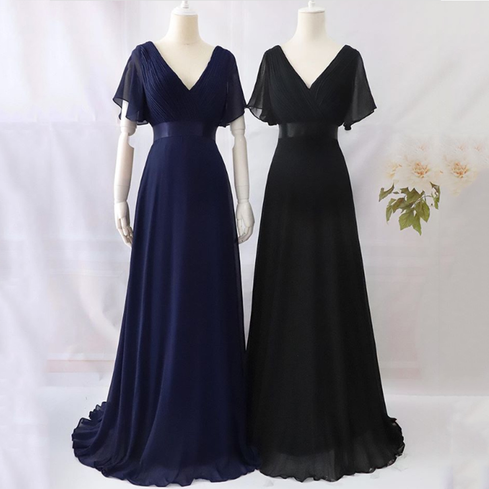 Evening Dresses XUCTHHC Elegant V-Neck Ruffles Chiffon Formal Evening Gown Party Dress Robe  vestidos de fiesta de noche A-line 6