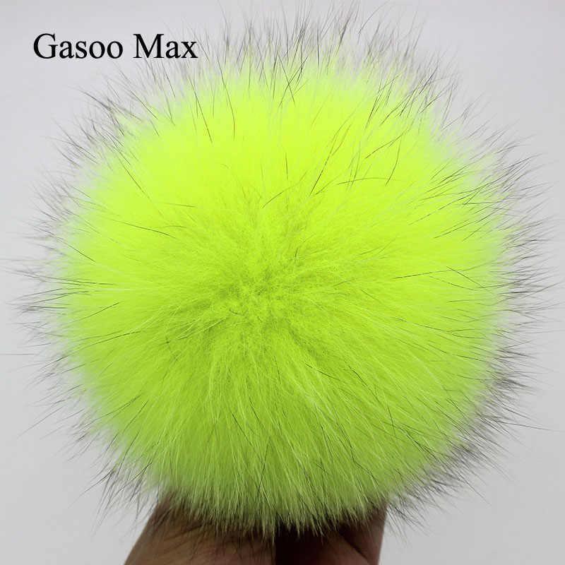 DIY 13 ซม.15 ซม.สุนัขจิ้งจอกจริงขนสัตว์ PomPom สำหรับถักผ้าพันคอฤดูใบไม้ร่วงฤดูหนาวผ้าพันคอของแท้ Raccoon ขน POM POM สำหรับหมวกผ้าพันคอและ Wraps