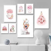Pink Perfume High Heels Fashion Poster Makeup Floral Print Canvas Art Painting Wall Picture Modern Girl Room Home Decoration