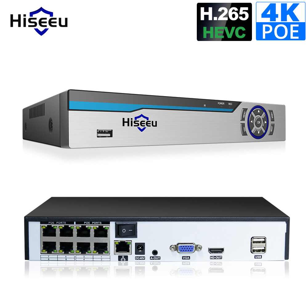 Hiseeu 4K POE NVR 8CH Audio ONVIF H.265 Surveillance Security Video Recorder for POE IP Camera 1080P 4MP 5MP 8MP 4K
