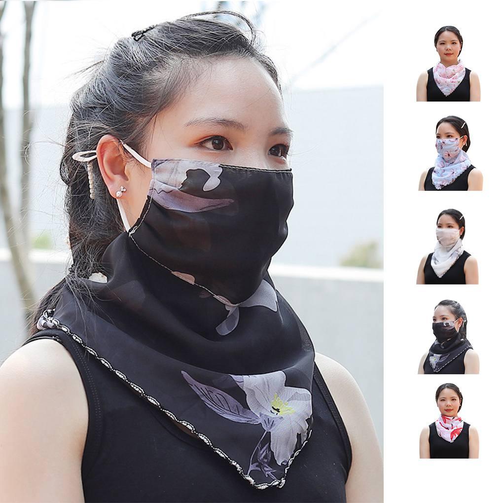 Sunshade Mask Chiffon Face Cover Lace Printing Riding UV Protection Veil Neck Women Summer Shawl