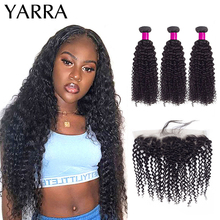Kinky Curly Bundles with Frontal 13x4 Lace Pre Plucked Kinky Curly Human Hair Bundles With Lace Frontal Peruvian Remy Hair Yarra