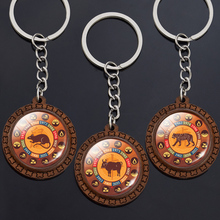 Vintage Wood Jewelry China Traditional Culture 12 Chinese Zodiac Key Chains Animals Zodiac Rat Ox Tiger Pig Glass Dome Keyring ebony carved pig ornaments solid wood zodiac pig home feng shui living room decorations mahogany carving pig crafts