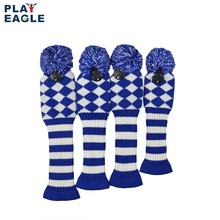 4psc/set Abstract Patroon Knit Golf Club Head Cover voor Driver Hout (460cc), Fairway, hybrid met Nummer Tag