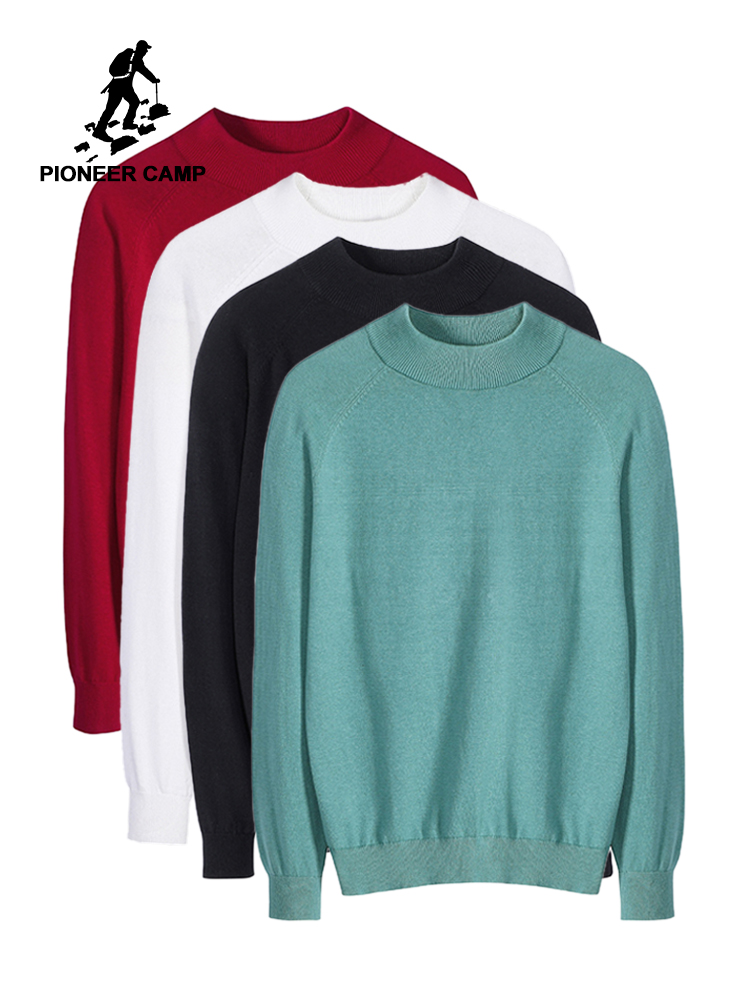 Pioneer Camp 2019 Sweater Male Casual Plain Crew Neck Cotton Jumper Autumn Red Turquoise Knit Pullovers For Men AMS902282