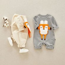 New Autumn Cotton Baby Boy Girl Soft Onesies Novel Cute Cartoon Fox Decoration 0-12M Newborn Clothes