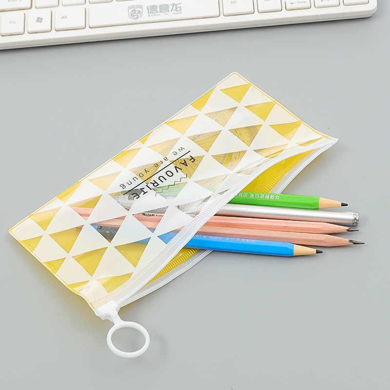 Korea piśmienne piękny śliczny kreatywny pierścień krawędzi pcv przezroczyste torby do przechowywania folderów piórniki szkolne materiały biurowe Hot
