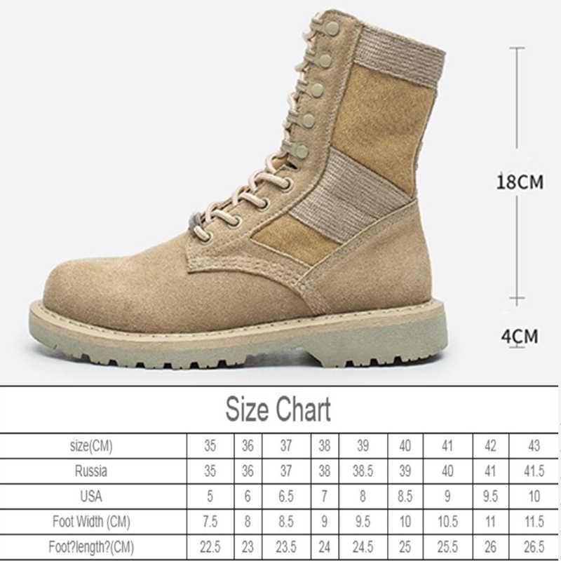2020 yeni sonbahar hakiki deri kadın Martin çizmeler kadın askeri bot açık çift güvenlik botları