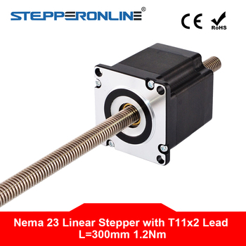 "Nema 23 Non-captive Linear Stepper Motor 4-lead 56mm Stack 2A Lead 2mm/0.07874"" Lead Screw Length 300mm"