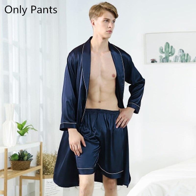 Men's Pajamas Silk Satin Pajamas Summer Soft Short Pants Male Pyjamas Sleepwear Loungewear Home Clothing Men's Pajamas