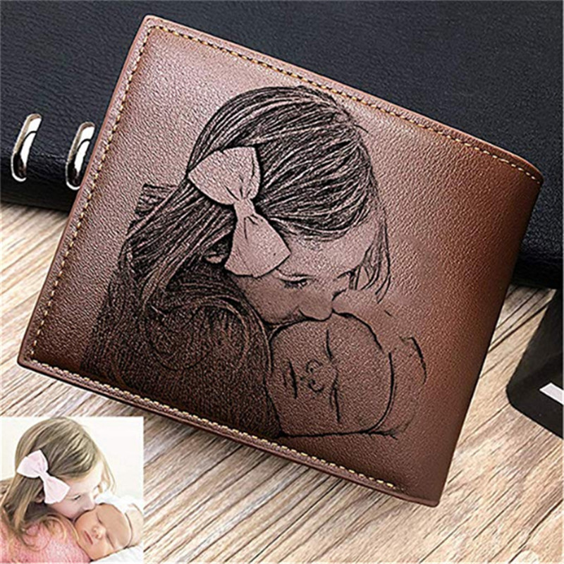 Personalized Wallets Men High Quality PU Leather for Him Engraved Wallets Men Short Purse Custom Photo Wallet Luxury Men Gift