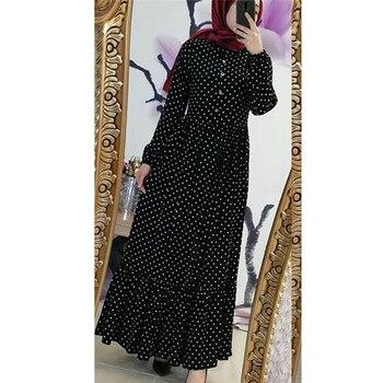 Plus Size Polka Dot Kaftan Abaya Dubai Hijab Muslim Dress Caftan Marocain Turkish Dresses Jilbab