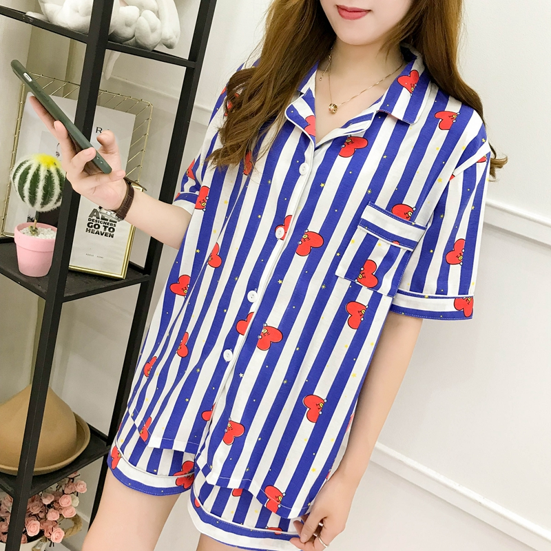 New Cartoon Sleepwear Heart Stripe Print Pajamas Sets Women Harajuku Pajamas Kpop Women Short Sleeve Shirt Nighty Nightwear Set
