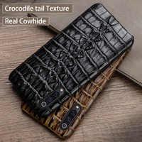 Echtes leder Telefon Fall Für Xiao mi mi 8 9 se 9T Note10 A2 A3 mi x 2s max 3 F1 Für Red mi Hinweis 7 8 6 5 Pro K30 Krokodil Fall