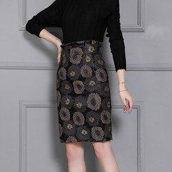 Top Quality Women Knee Length Sheepskin Printing Straight Skirts High Waist Genuine Leather Slim Fit Plus Size Ladies Wrap Skirt