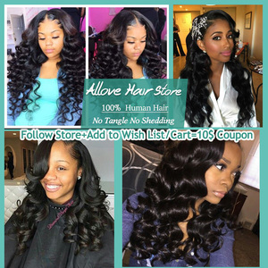 Image 5 - Allove Loose Wave Bundles With Frontal Human Hair 3 Bundles With Frontal Indian Hair Bundles With Closure Non Remy Lace Frontal