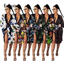 Echoine seksi güzel kadın karikatürler baskı bayanlar banyo elbiseler saten gecelik kıyafeti kimono pijama bornoz ev gevşek uzun elbise
