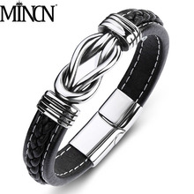 MINCN Mens Leather Titanium Steel Punk Bracelet Magnet Buckle Stainless Personalized Custom