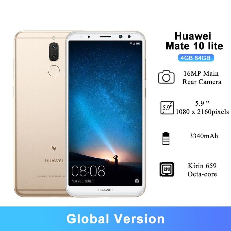 Смартфон Huawei Mate 10 Lite, 5,9 дюйма, 4 + 64 ГБ, Kirin 659, 8 ядер, задняя камера 16 Мп, 3340 мА ч, Android 7,0