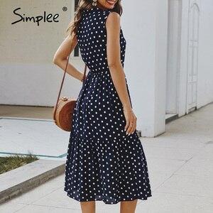 Image 5 - Simplee אלגנטי עניבת שרוולים נשים שמלה מנוקדת הדפסת משרד ליידי נופש קיץ שמלת אונליין מקרית גבירותיי midi שמלות