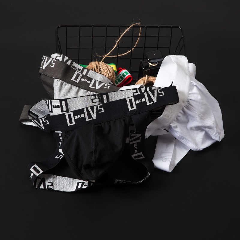 Sexy Gay Underwear Men Thong Jockstrap Cotton Breathable Mens Bikini Thongs G-Strings Sissy Panties String Lingerie Tanga OR211