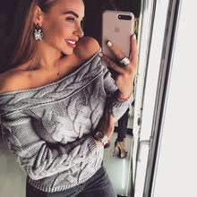 2019 Colorful Sweater Women Strapless Knit Jumper Pullovers Sexy Slim Winter Sweater Gray Pull Femme(China)