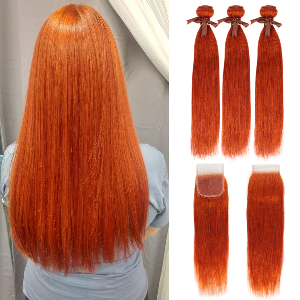 Black Pearl Orange Bundles With Closure Brazilian Remy Straight Human Hair Orange  Bundles With Closure Free Shipping