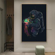 Fun Art Astronaut Playing Jellyfish In Space Canvas Painting Posters and Prints Modern Wall Art Pictures Cuadros for Living Room