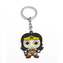 Movie Justice League Keychain For Men Metal Wonder Women Key Chain Cartoon Figure llavero Chaveiro Women Jewelery Cosplay Gift(China)
