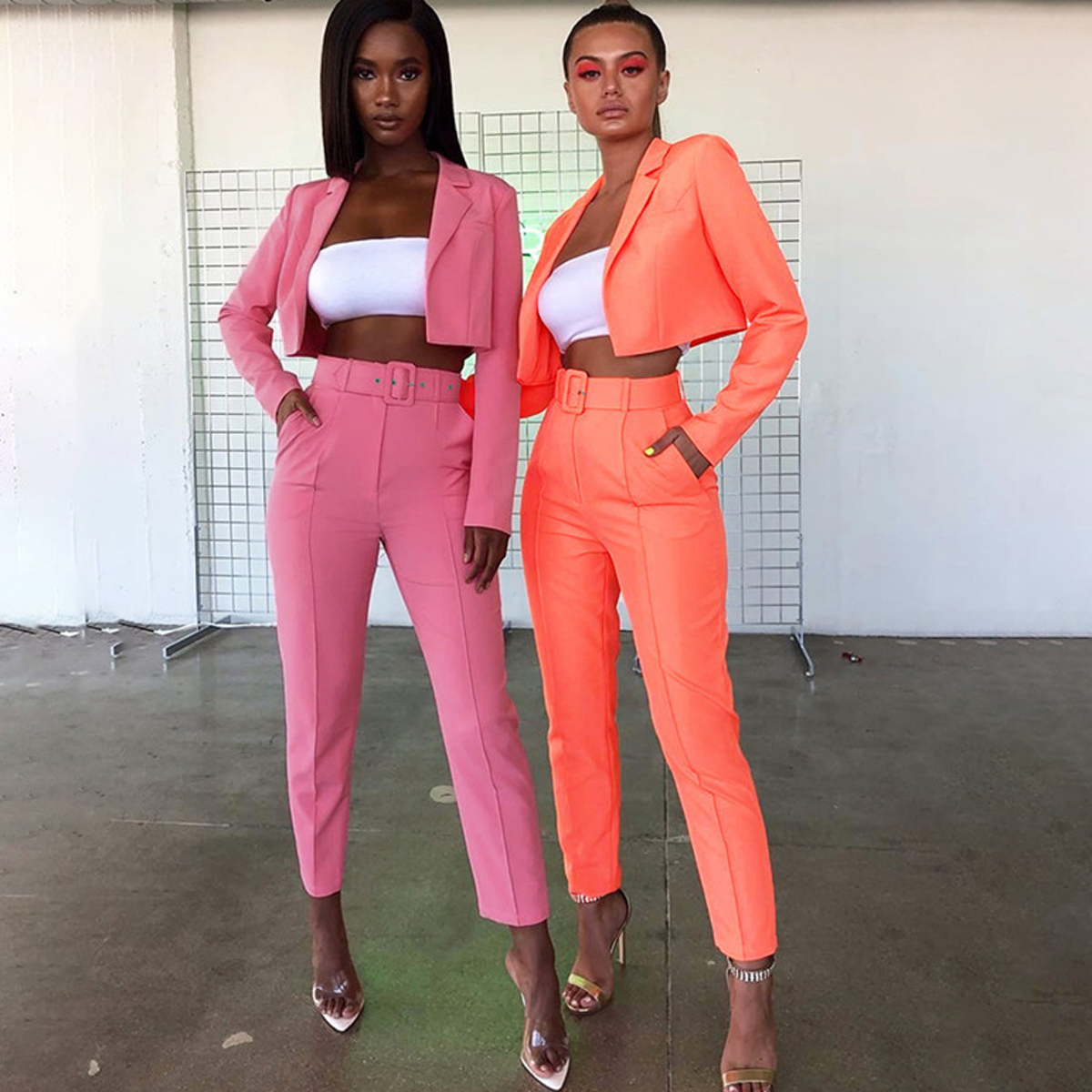 Fashion Women 2pcs Clothes Sets Long Sleeve Tracksuit Tops + Long Pants With Belt Outfits Party Streetwear Office Ladies OL Suit