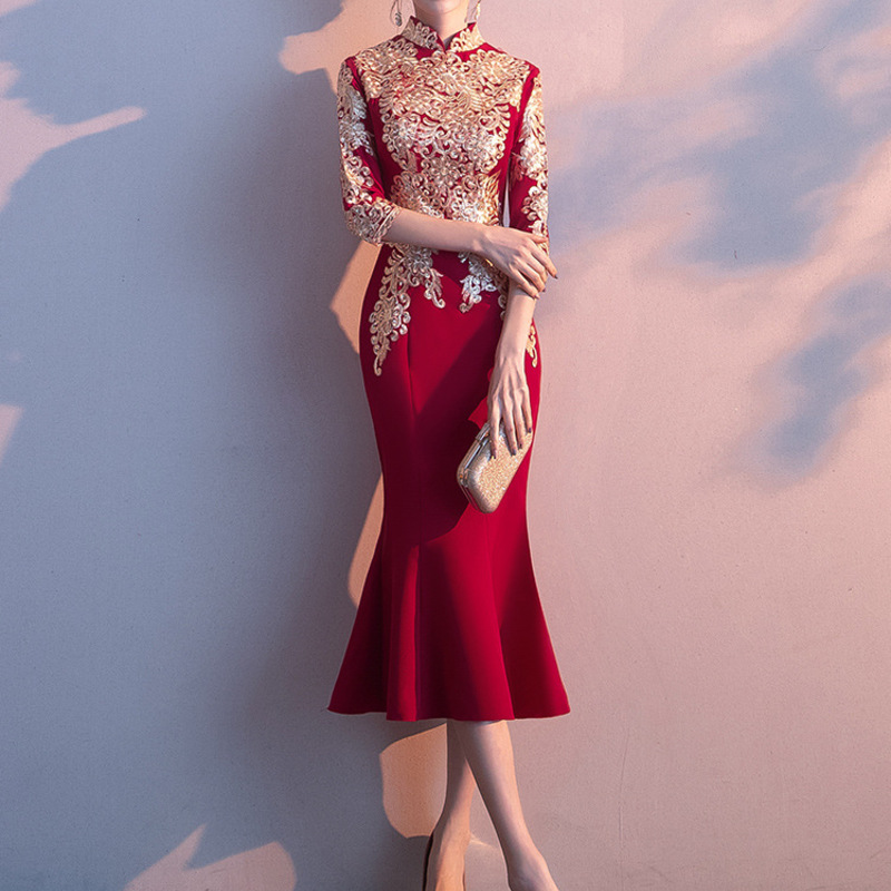 2020 Limited Vestido Cocktail Gengli Toast 2020 Autumn New Little Bride Wedding Thank You Banquet Noble Fishtail Dress Female