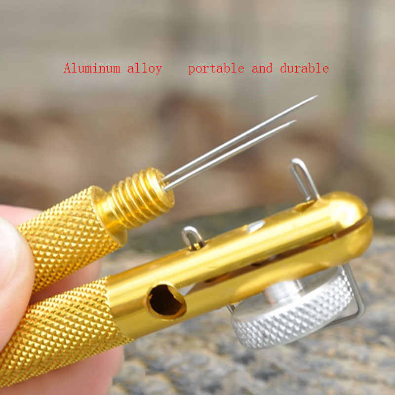 ポータブル 1 個合金ストランド双頭針ノット一層魚ラインフックネクタイアクセサリー魚ラインフックネクタイデバイス釣りツール