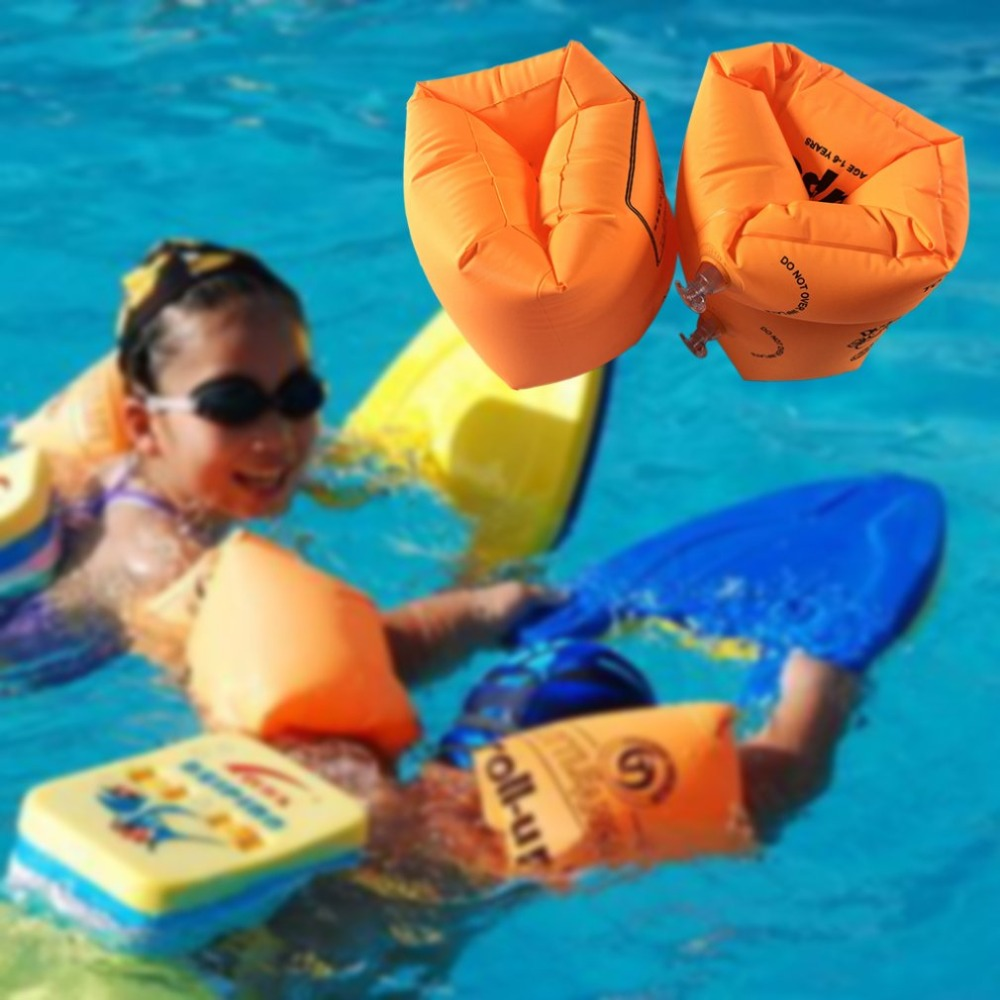 1Pair Kids Adult Inflatable Arm Swimming Rings Roll-ups Swim Arm Circle Float For Adult&Child Summer Swim Safety Training Rings