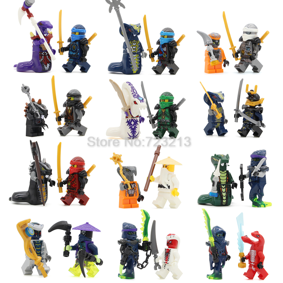 Single 2pcs/lot Ninja Figure Set Pythor KAI JAY COLE ZANE Lloyd Sensei Wu NYA Snake Building Blocks Toys Legoing LELE31035