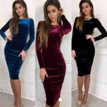 Frauen Damen Samt Bodycon Langarm Kleid Abend Party Cocktai Schlank Midi Kleid(China)