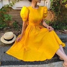 Autumn Woman Elegant Bow Party Midi Dress Vintage Fashion Short Puff Sleeve Mid-Calf Korean Solid Boho High Waist