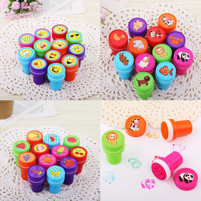 6pcs Kids Self Inking Stamp Seal Toy Emoji Dinosaur Fruit Flower Rubber School Office Drawing Kid Hobby Party Child Favors Gift
