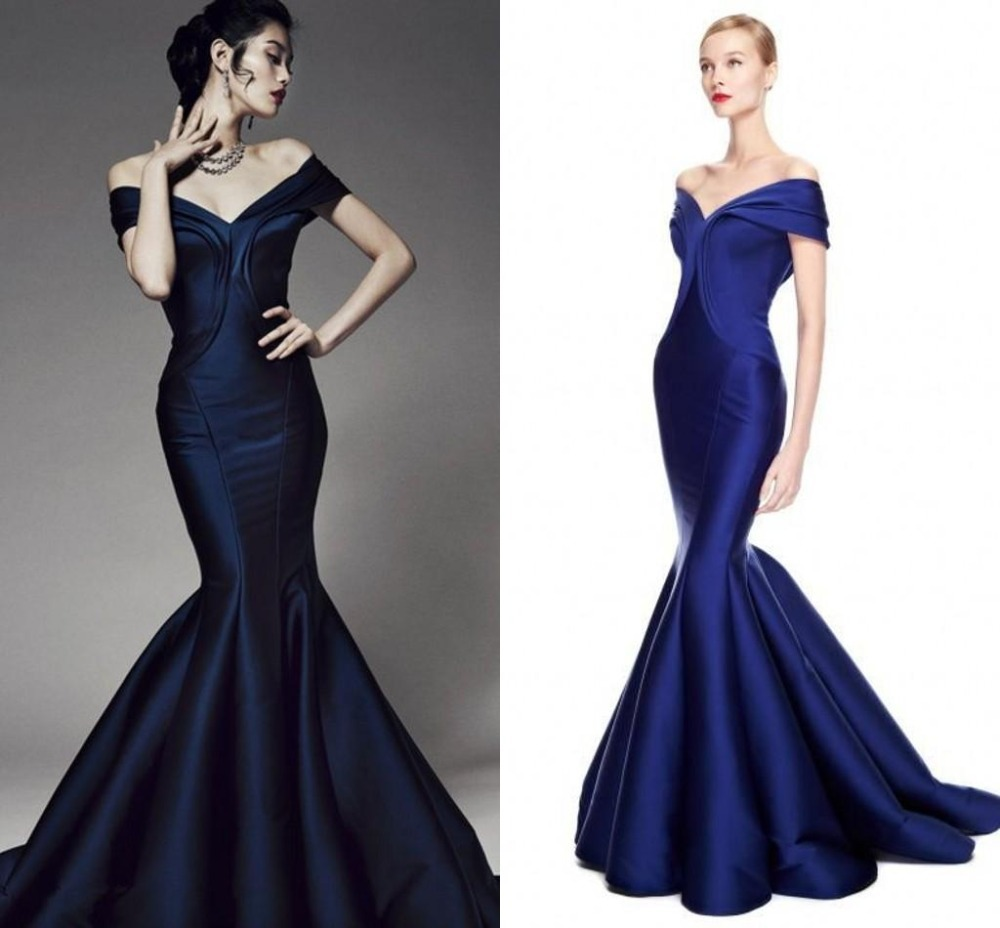 Elegant Navy Off The Shoulder Evening Gowns 2019 Mermaid Satin Long Formal Robe De Soiree Longue Mother Of The Bride Dresses
