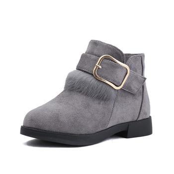 Girls Fashion Boots Leather Sport Shoes For Girls Children Warm Boots Short Soft Bottom Princess Snow Boots Kids Sneakers tanie i dobre opinie RUBBER 19-24 M 2-3Y 4-6Y 7-9Y 10-12Y 13-14Y 14Y Zima Moda buty Butterfly-knot Mieszkanie z Pluszowe Unisex Połowy łydki