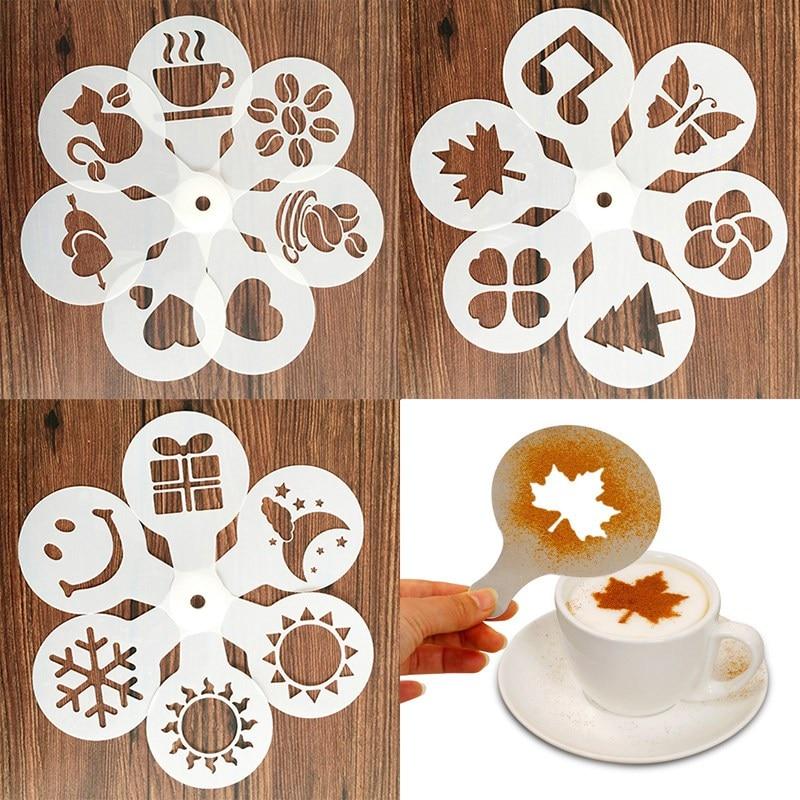 19Pcs Coffee Stencils Fancy Coffee Printing Model Foam Spray Cake Stencils Coffee Drawing Cappuccino Mold Powdered Sieve Tools