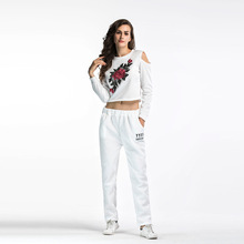2019 Women Sports Suit Trousers Two-piece Printed Embroidery Casual Sweater Womens Clothing S-XXL