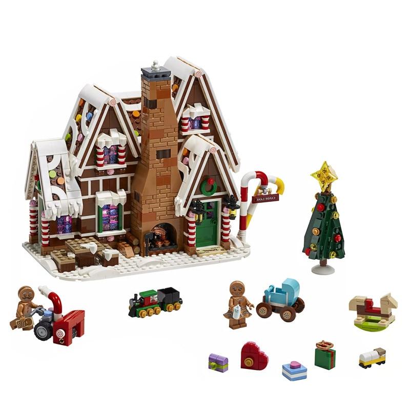 City Creator Expert Winter Gingerbread House Santa Claus Compatible Legoingly 10269 10267 Building Blocks Bricks Model Kids Toys