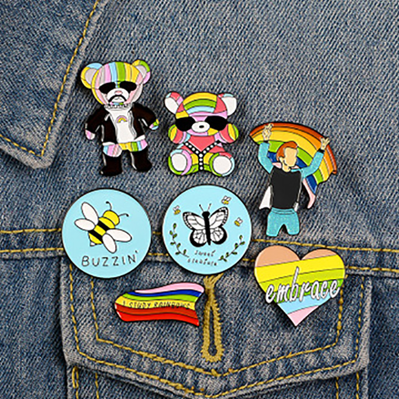 Cute Cartoon Bee Pin Rainbow Bear Love Heart Badge Lapel Pins Jackets Brooches Jewelry Accessories Gift For Friend