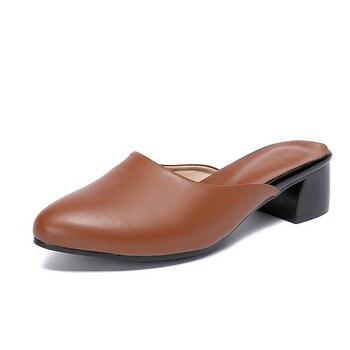 Sandalias de Mujer Zapatos de tacón alto grueso de cuero Natural genuino zapatos de cuero Real punta redonda zapatos de oficina para mujer verano
