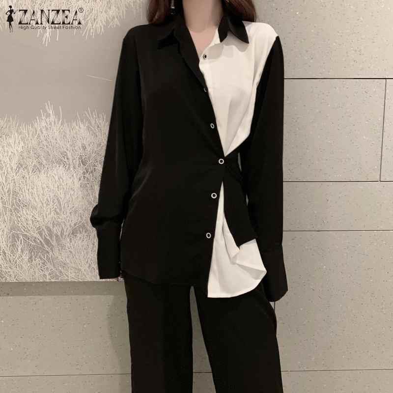 Donne Magliette e camicette e Camicie ZANZEA 2020 Dell'ufficio Della Signora di Modo Bottoni Imbottiture Patchwork Camicette Retro del Risvolto del Collo Blusas Femininas Più Il Formato