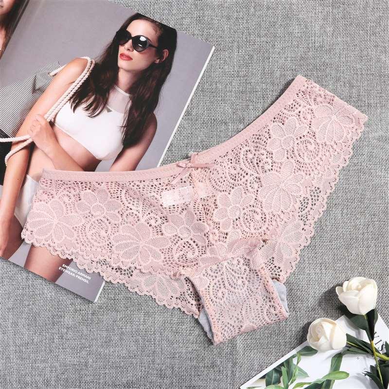 3 Pcs Panties for Woman Underwear Sexy Lace Breathable Soft Lingerie Female Briefs Panty Sexy Transparent Women's Underpants - underwear