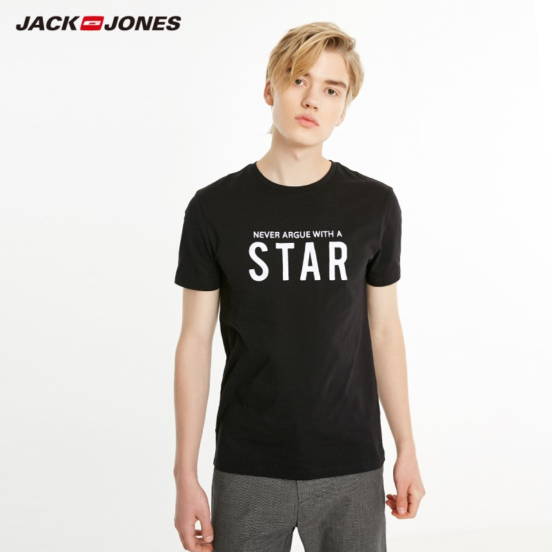 JackJones Men's Slim Fit Letter Embroidery Short-sleeved Basic T-shirt| 219101515