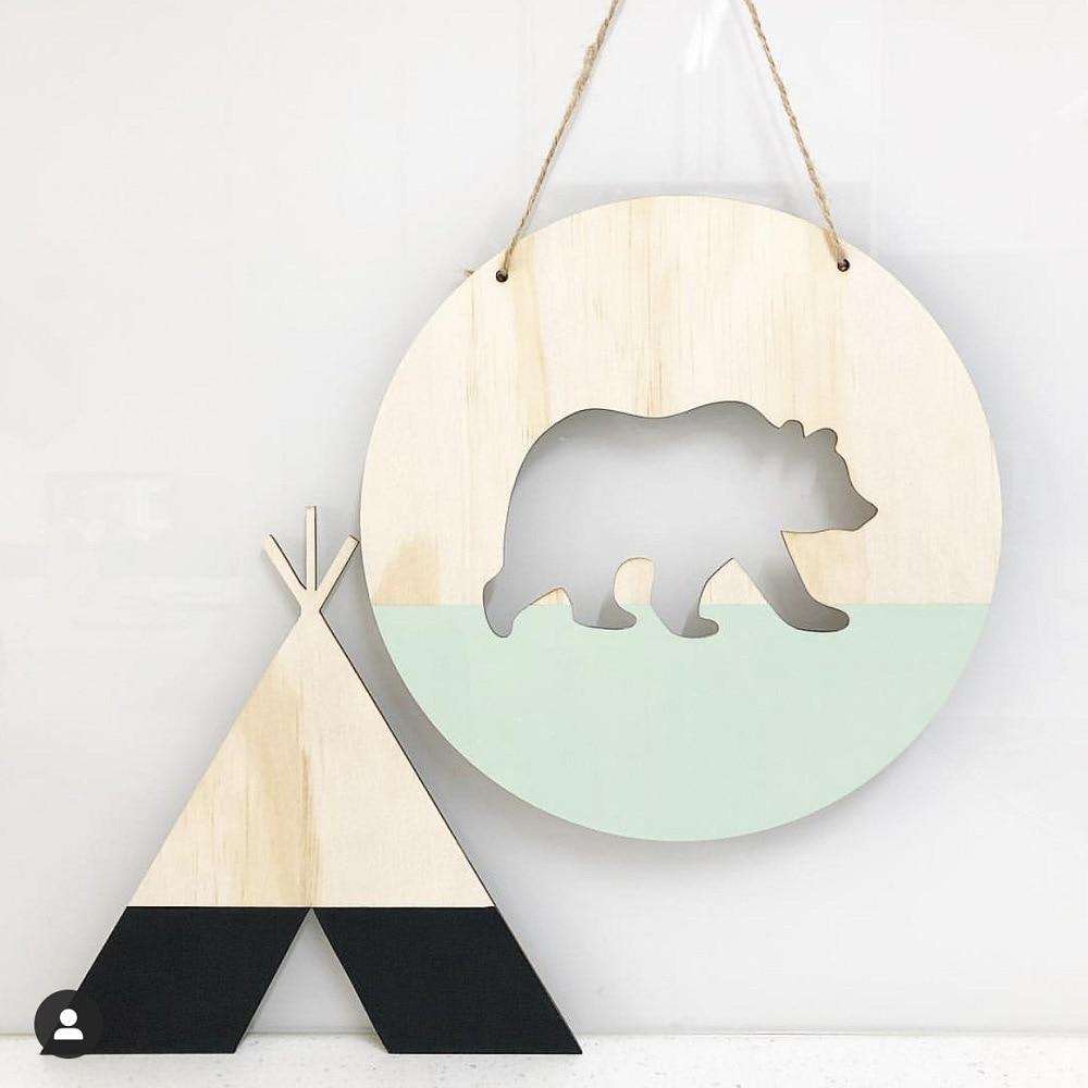 Скандинавский декор для детской комнаты и детей, деревянный медвежонок, подвесные деревянные игрушки, модель для детской комнаты, украшение для дома, колыбель, Шарм Ловцы снов и подвесные украшения      АлиЭкспресс - Товары для детской