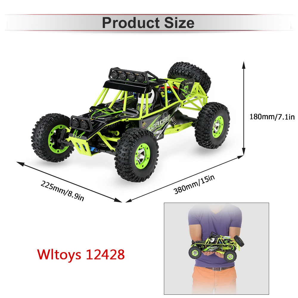 Image 3 - Wltoys 12428 50Km/h High Speed RC Car 1/12 Scale 2.4G 4WD RC Off road Crawler RTR Electric RC Climbing Car Toy for Kids-in RC Cars from Toys & Hobbies