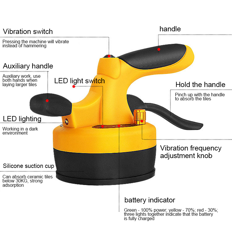 Tile Professional Tiling Tool Machine Vibrator Suction Cup Adjustable For 60X60cm OCT998